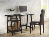 Dark Brown Wood Modern Desk with Sawhorse Legs (Small)