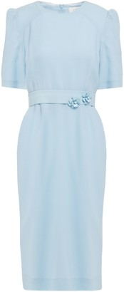 Goat Fawn Floral-appliqued Wool-crepe Dress