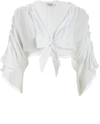 Charo Ruiz Ibiza Kissa Tie-Accented Cotton Blouse