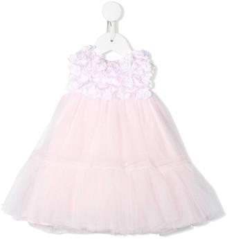 MonnaLisa Floral Applique Tulle Gown