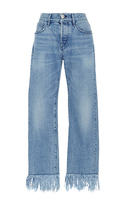 3x1 WM3 Straight Cropped Mid Rise Fringed Jeans