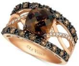 LeVian Le Vian Chocolatier® Chocolate Quartz® (2 ct. t.w.) & Diamond (3/4 ct. t.w.) Ring in 14k Rose Gold