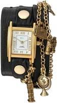 La Mer Women's Quartz Metal and Leather Casual Watch, Color:Black (Model: LMCW1004A)