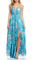 GB Social Lace-Up Back Floral Gown