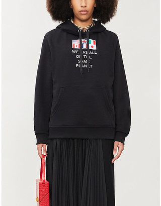 Burberry Poulter text-embroidered cotton-jersey hoody