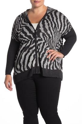 Joseph A Zebra Print Zip Poncho Sweater (Plus Size)
