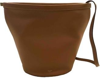 Celine Clasp Bucket Brown Leather Handbags