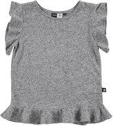 Molo Rabia Heathered Jersey Flounce Tee, Gray, Size 3-14