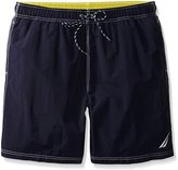 Nautica Men's Big-Tall Big and Tall Quick Dry Logo solid Swim Trunk