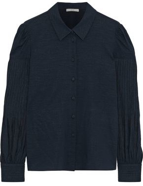 Co Pleated Crinkled-crepe Shirt