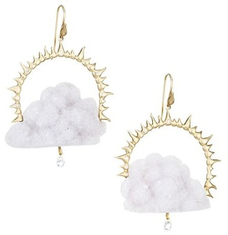 Annette Ferdinandsen 14K Yellow Gold,Blue Chalcedony Drusy & Diamond Rain Could Drop Earrings