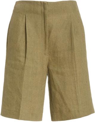 Loulou Studio Rangiroa Linen Bermuda Shorts