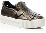 Ash King Metallic Snake-Embossed Slip On Platform Sneakers