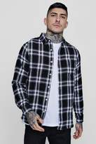 boohoo Mono Check Long Sleeve Flannel Shirt