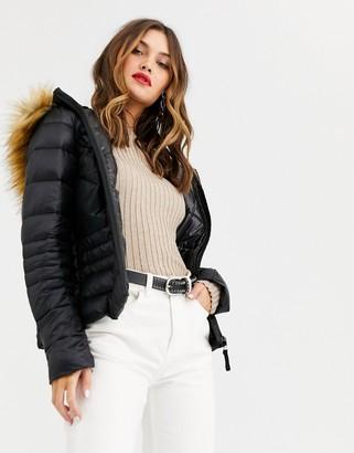 Vero Moda faux fur hood padded jacket-Black