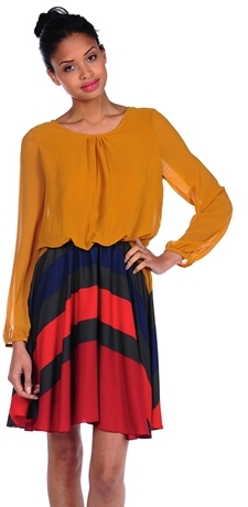 Romeo & Juliet Couture Long Sleeve Color Block Woven Dress