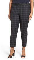 Sejour Plus Size Women's Plaid Stretch Cotton Blend Ankle Pants