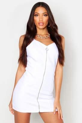 boohoo Strappy Zip Front Denim Micro Mini Bodycon Dress