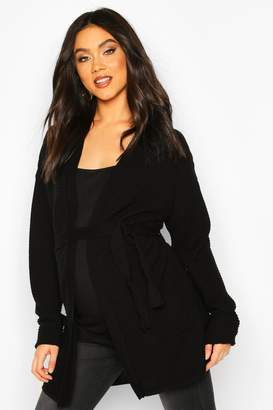 boohoo Maternity Rib Knit Pocket Tie Waist Cardigan