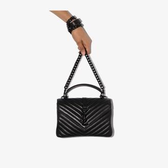 Saint Laurent Black College medium quilted leather tote bag
