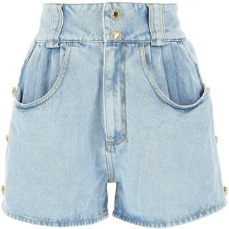 Alessandra Rich High-Waisted Denim Shorts