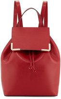 Neiman Marcus Saffiano Flap Drawstring Backpack, Dark Red