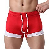 "HP95(TM) Sexy Skinny Men's Boxer Briefs Swimming Shorts Males SwimTrunks (L:34.1""-38"", Red)"