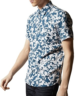 Ted Baker Mma Smore Floral Print Slim Fit Short Sleeve Button-Up Shirt