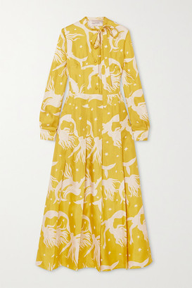 Valentino Pussy-bow Pleated Printed Silk-georgette Midi Dress - Yellow