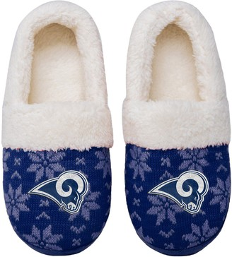 Women's Los Angeles Rams Ugly Knit Moccasin Slippers