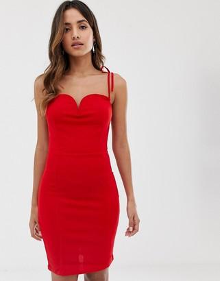 AX Paris sweetheart neckline bodycon dress in red