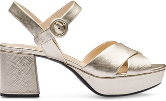Prada Strappy Low-Heel Sandals