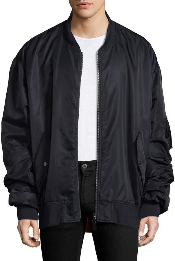 Yves Salomon Men's Solid Stand Collar Jacket