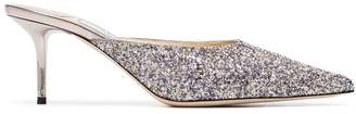 Jimmy Choo silver Rav 65 glitter mules