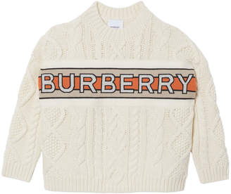 Burberry Boy's Arnold Logo Stripe Cable Knit Sweater, Size 4-14