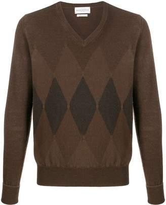 Ballantyne Argyle knit V-neck jumper