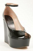 Chloe Patent Leather Peep Toe Wedge - Black