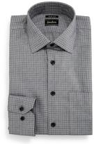 Neiman Marcus Trim-Fit Non-Iron Check Pattern Dress Shirt, Black