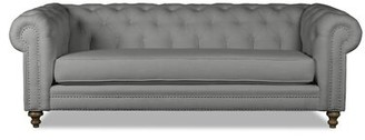 Canora Grey Benites Tufted Linen Chesterfield Sofa Upholstery: Off White