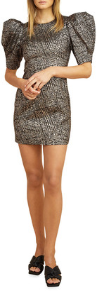 LES COYOTES DE PARIS Florine Metallic Puff-Sleeve Mini Dress