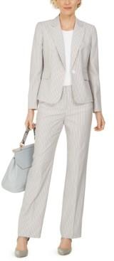 Le Suit Single-Button Pinstripe Seersucker Pantsuit