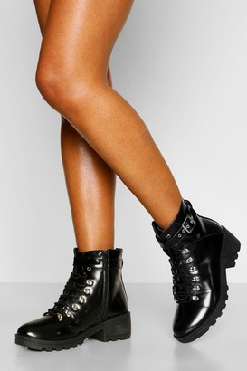 boohoo Buckle Strap Chunky Hiker Boots