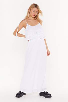 Nasty Gal Womens Leave 'Em in Tiers Crochet Maxi Dress - white - S