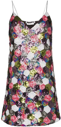 ROTATE sequin patchwork mini dress