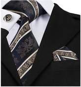 Hi Tie Barry.Wang Novelty Blue Tie Set Stripe Silk Necktie