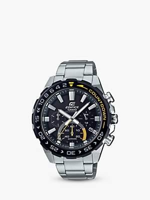 Casio EFS-S550DB-1AVUEF Men's Edifice Solar Chronograph Date Bracelet Strap Watch, Silver/Black