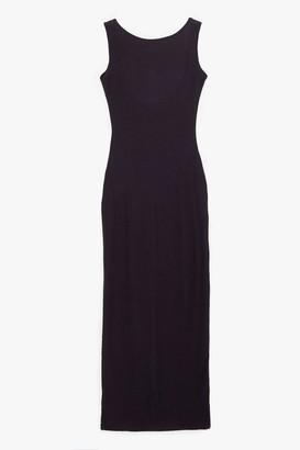 Nasty Gal Womens Don't Look Scoop Back Ribbed Maxi Dress - Black - 8, Black