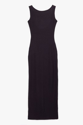 Nasty Gal Womens Don't Look Scoop Back Ribbed Maxi Dress - Black - 8