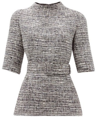 Goat Jasper Belted Tweed Top - Womens - Navy