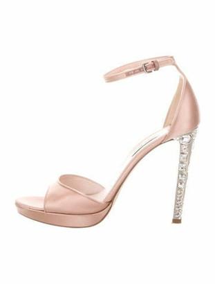 Miu Miu Satin Ankle-Strap Sandals Champagne